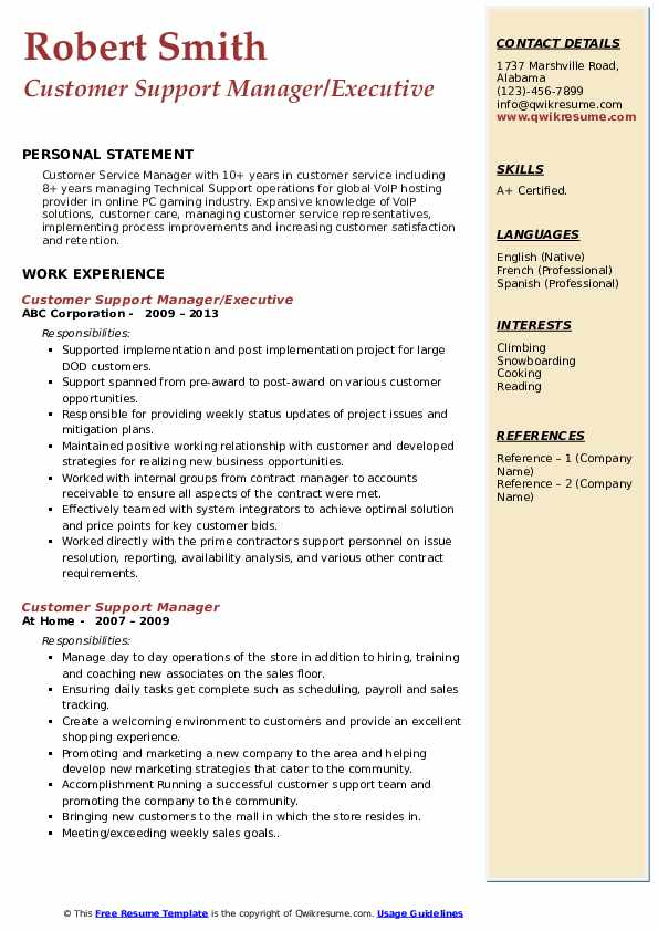 Customer Support Manager/Executive Resume Format