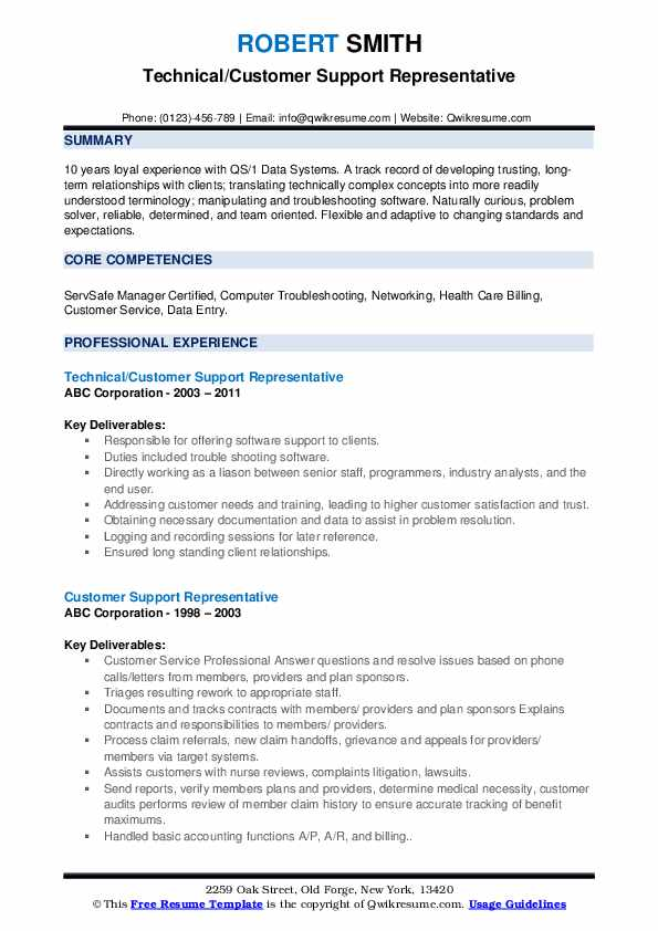 Technical/Customer Support Representative Resume Template