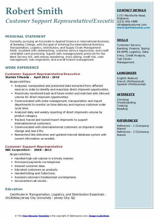 customer support representative resume samples