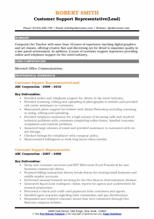 Customer Support Representative(Lead) Resume Sample