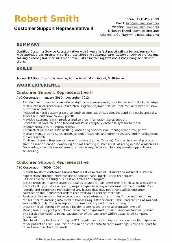 Customer Support Representative Resume Samples Qwikresume