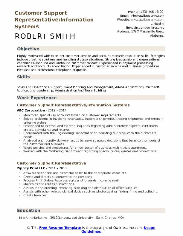 Customer Support Representative/Information Systems Resume Template