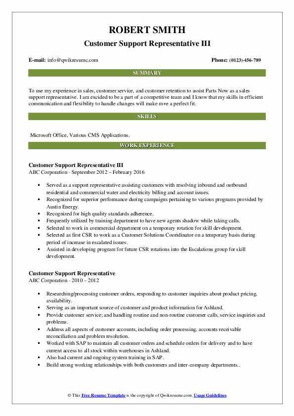 Customer Support Representative III Resume Sample