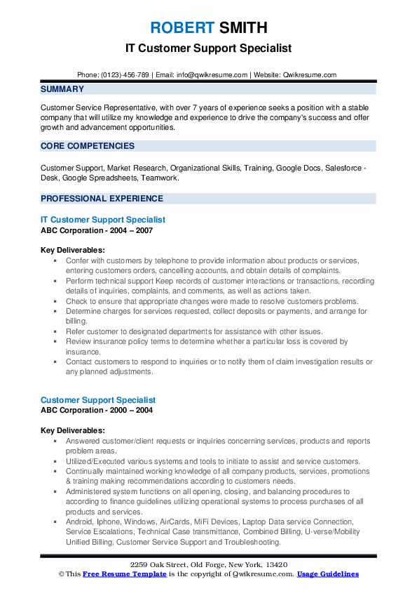 IT Customer Support Specialist Resume Template