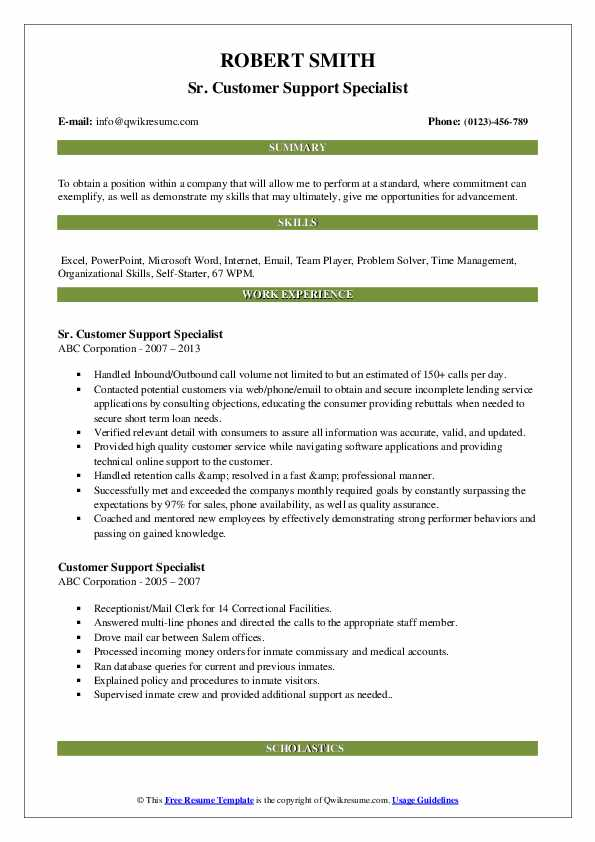 Sr. Customer Support Specialist Resume Model