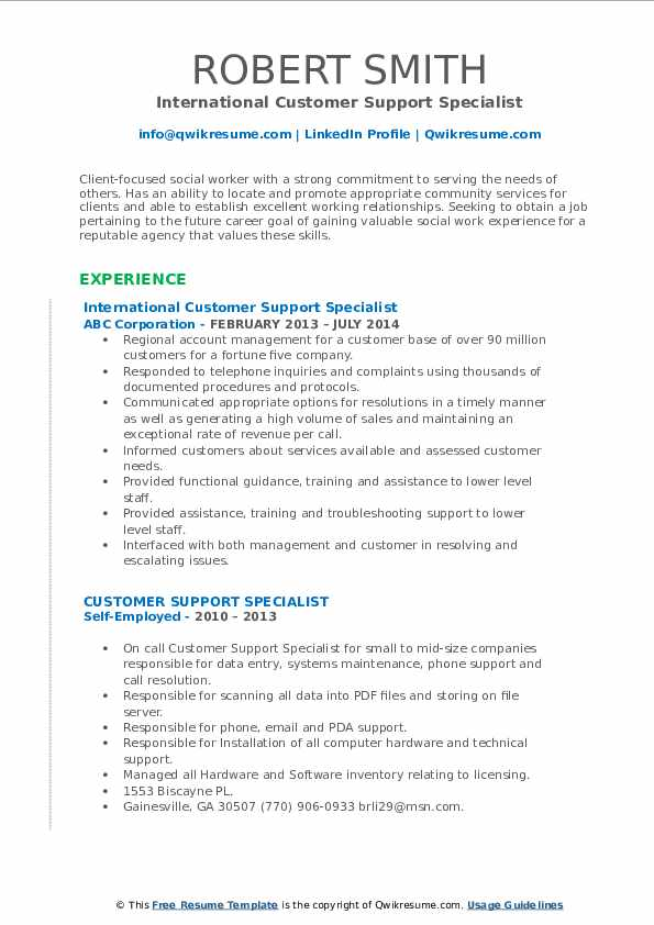 International Customer Support Specialist Resume Model