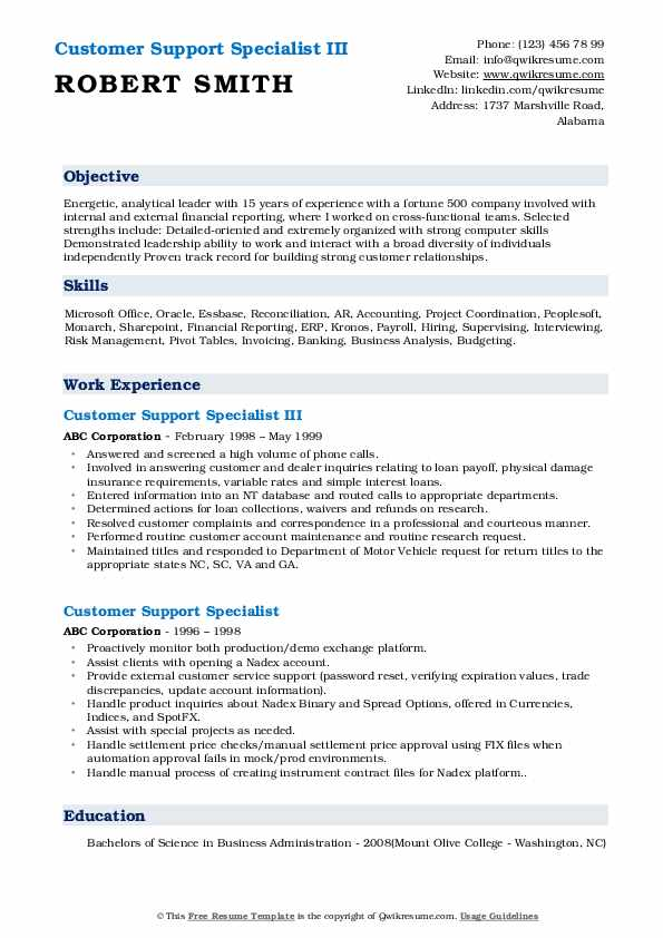 Customer Support Specialist III Resume Example