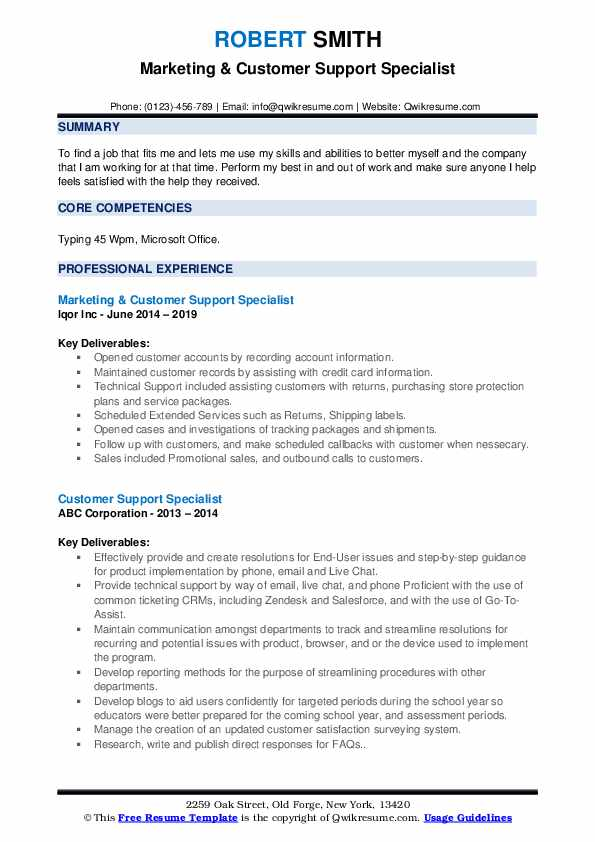Marketing & Customer Support Specialist Resume Template