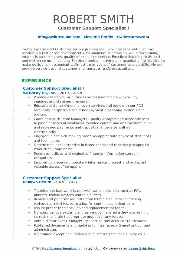 Customer Support Specialist I Resume Format