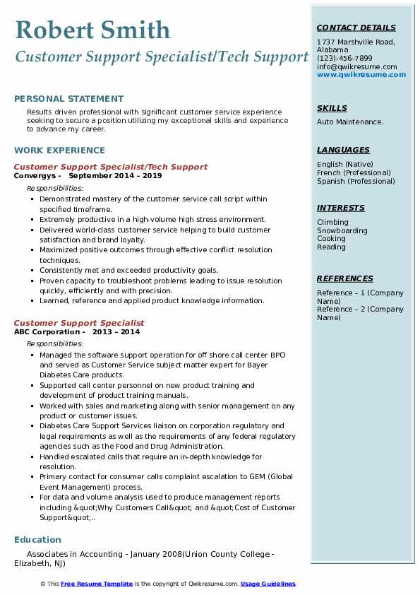 Customer Support Specialist/Tech Support Resume Format