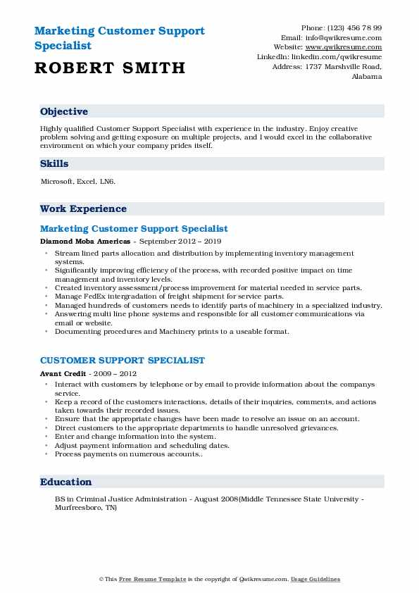 Marketing Customer Support Specialist Resume Example