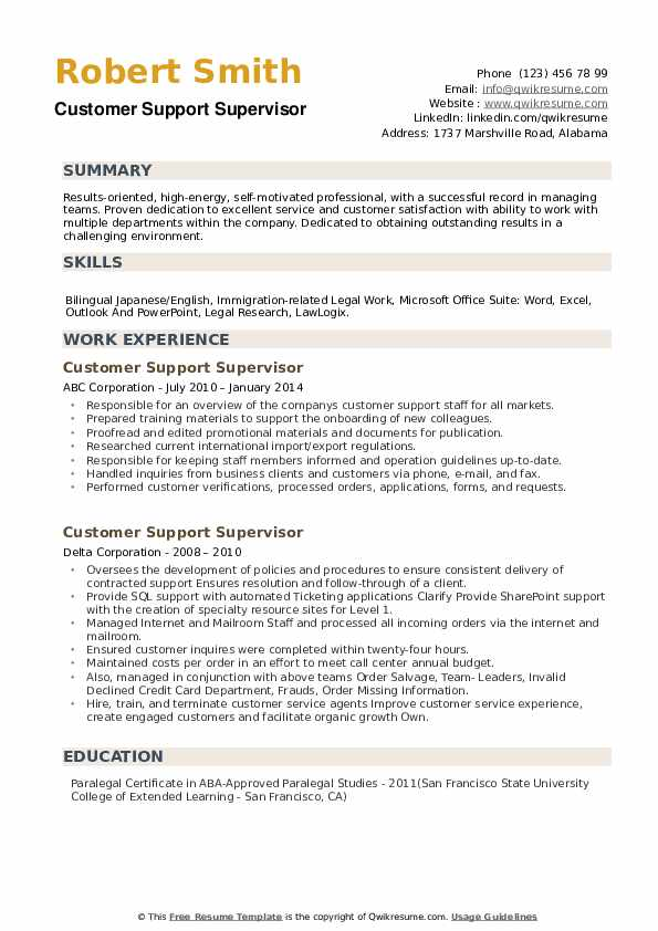 Customer Support Supervisor Resume example