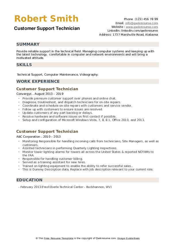 Customer Support Technician Resume example