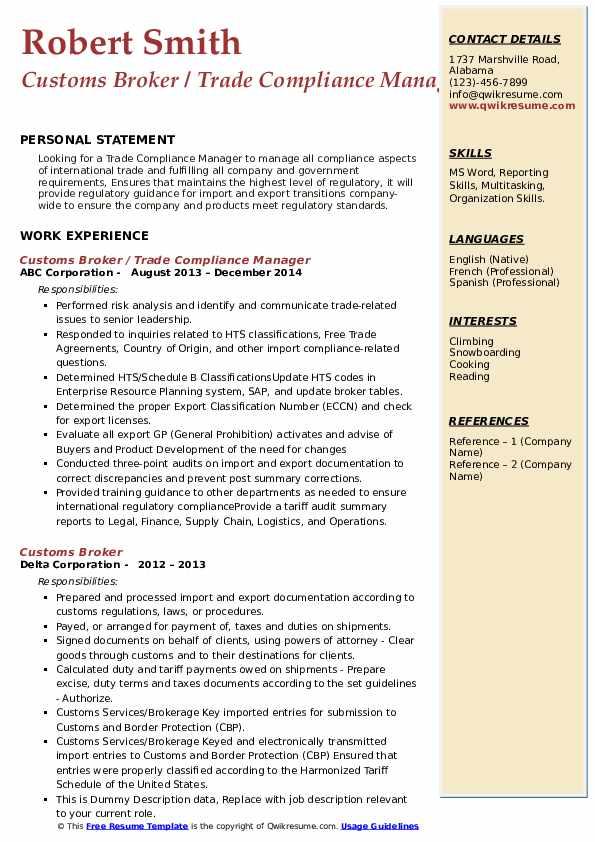 Customs Broker Resume example
