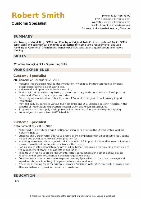 Customs Specialist Resume example