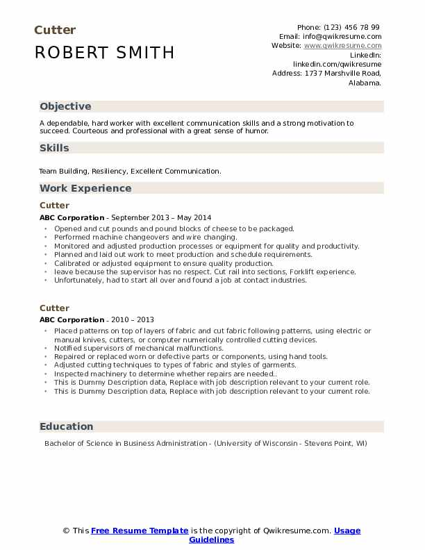 Cutter Resume example