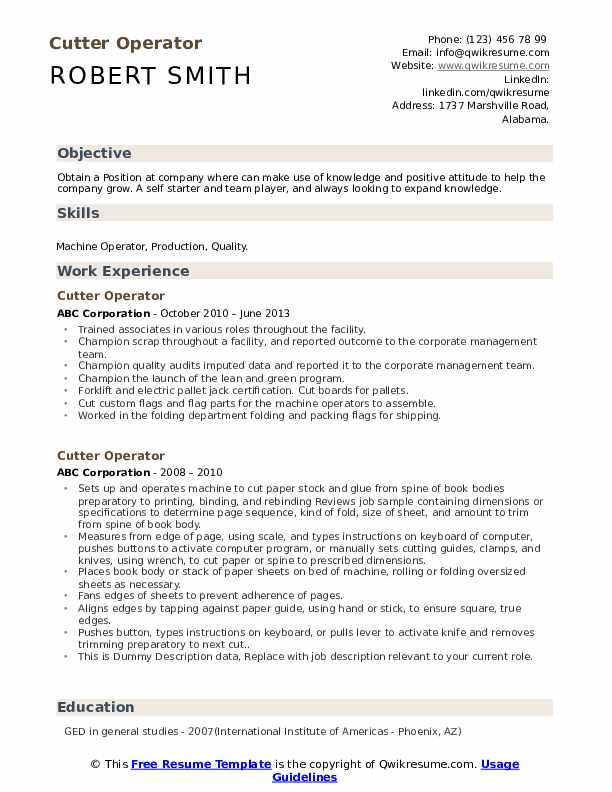 Cutter Operator Resume example