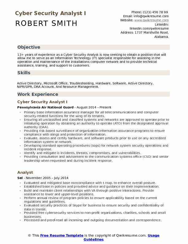 Cyber Security Analyst I Resume Example