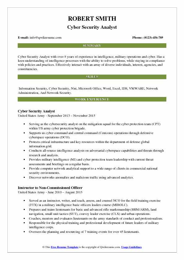 Cyber Security Analyst Resume Example