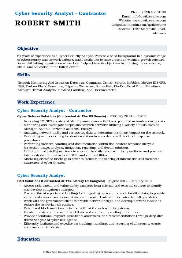 Cyber Security Analyst - Contractor Resume Format