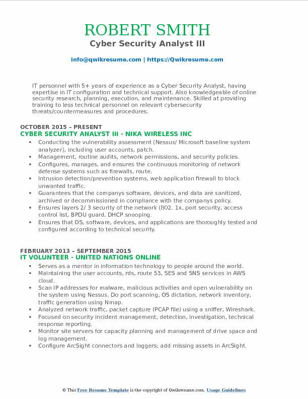 Cyber Security Analyst III Resume Template