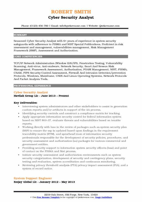 Cyber Security Analyst Resume Samples Qwikresume
