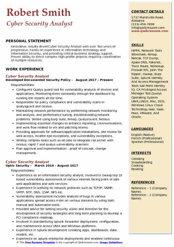 Cyber Security Analyst Resume Samples
