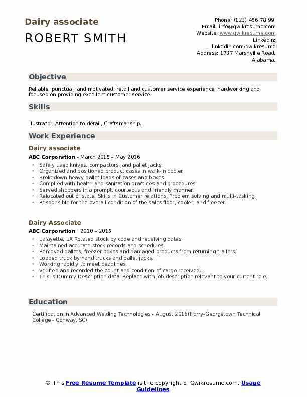 Dairy Associate Resume example