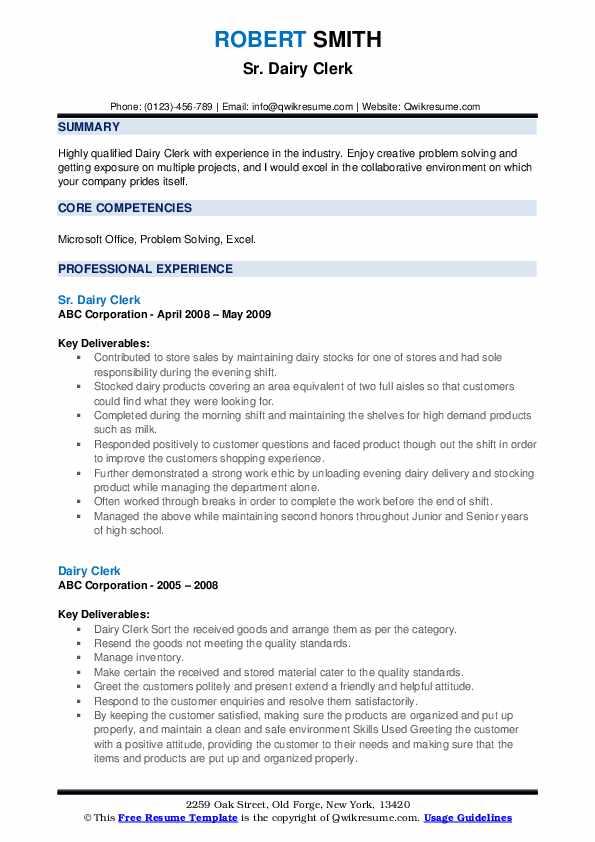 Sr. Dairy Clerk Resume Template