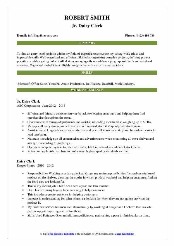 Jr. Dairy Clerk Resume Sample