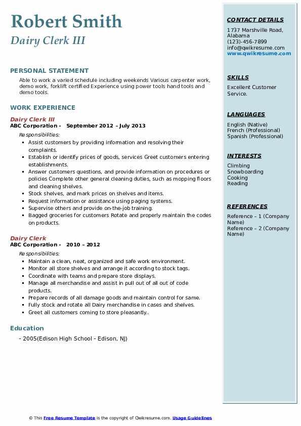Dairy Clerk III Resume Model