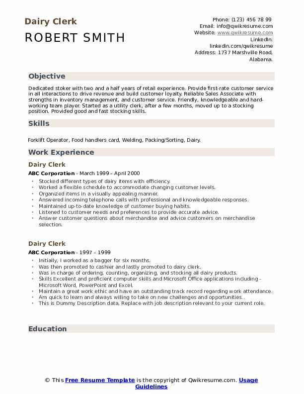 Dairy Clerk Resume example