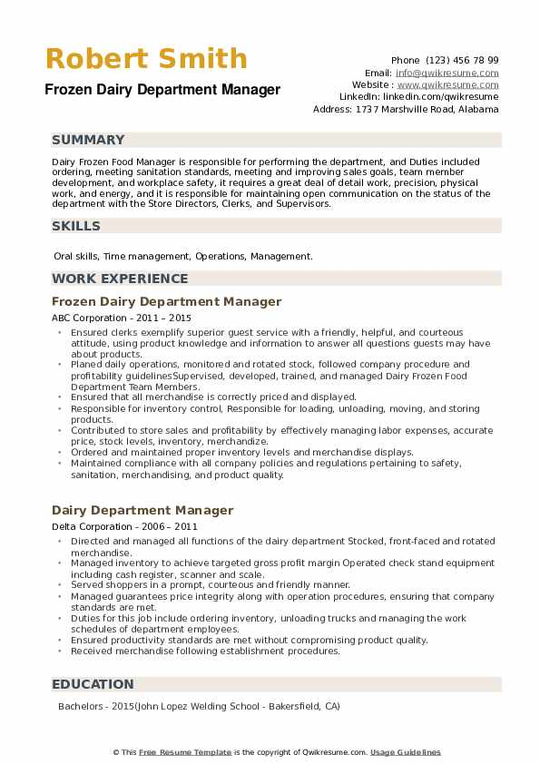 Dairy Department Manager Resume example