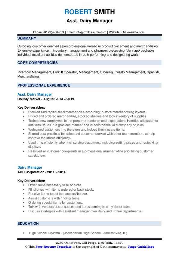Asst. Dairy Manager Resume Example