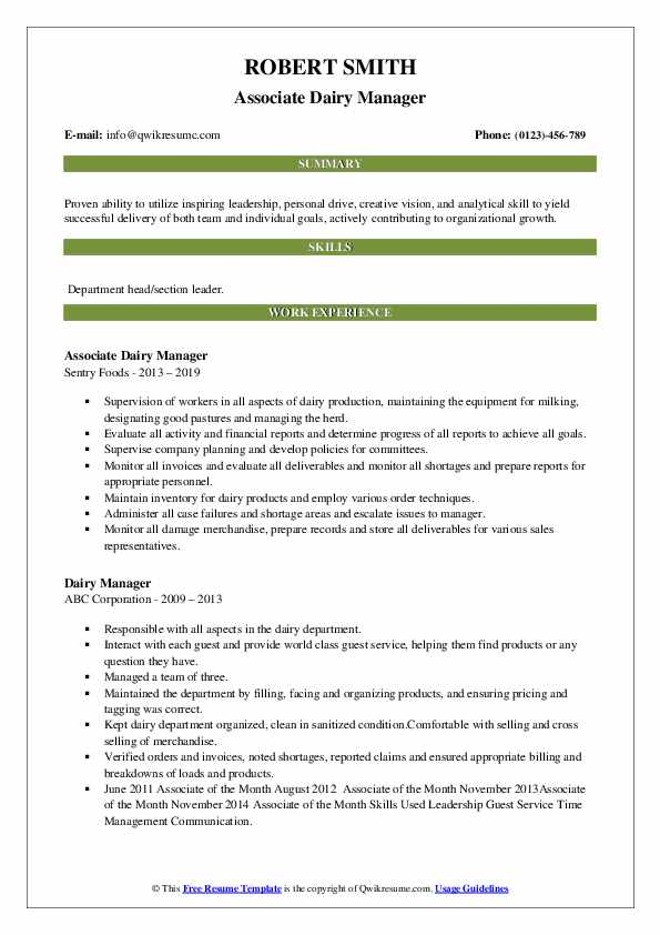 Associate Dairy Manager Resume Format
