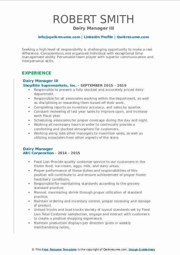 Dairy Manager III Resume Format