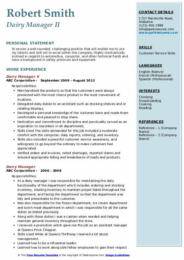 Dairy Manager II Resume Template