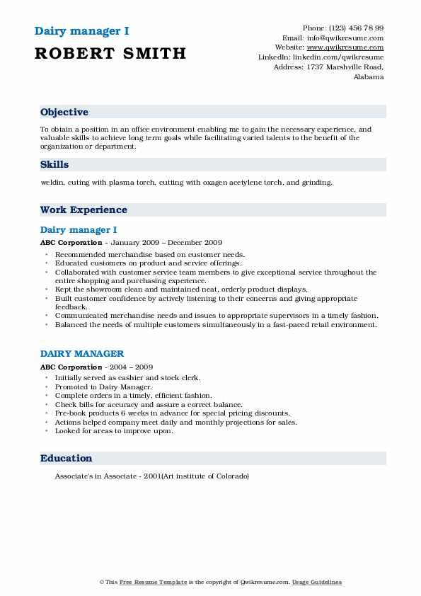 Dairy manager I Resume Example