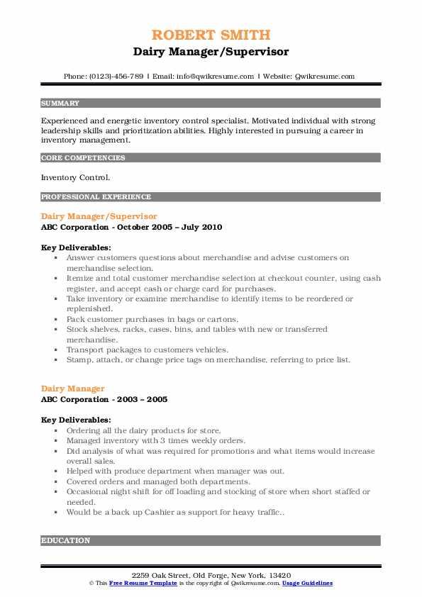 Dairy Manager/Supervisor Resume Format