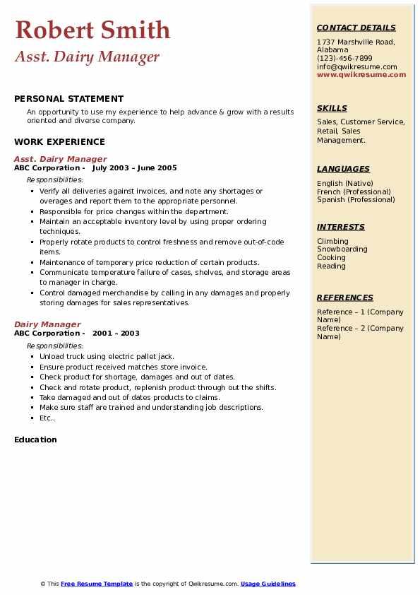 Asst. Dairy Manager Resume Model