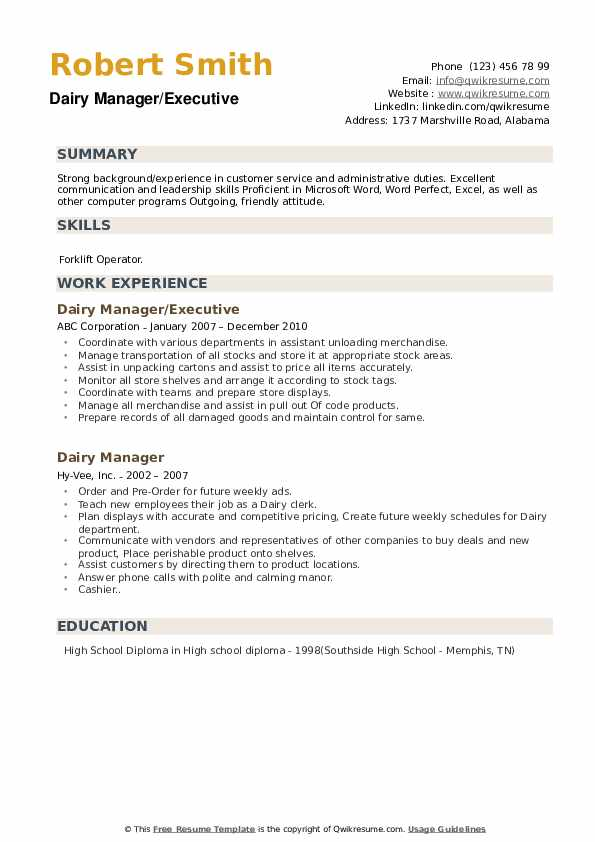 Dairy Manager/Executive Resume Template
