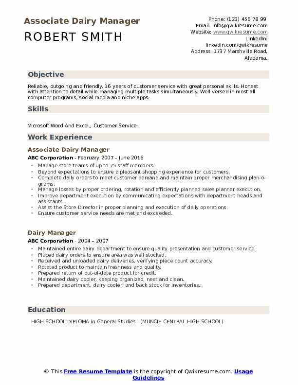 Associate Dairy Manager Resume Template