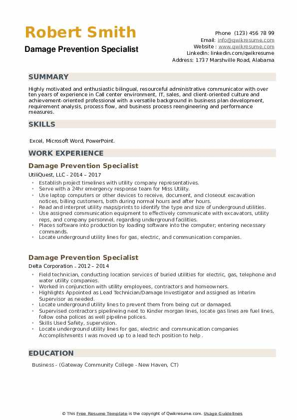 Damage Prevention Specialist Resume example