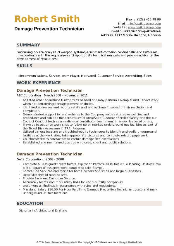 Damage Prevention Technician Resume example