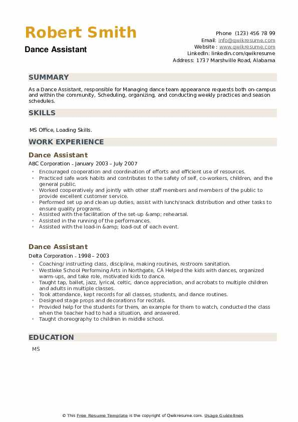 Dance Assistant Resume example