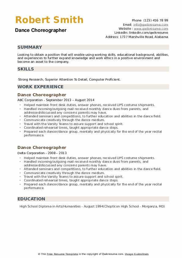 Dance Choreographer Resume example