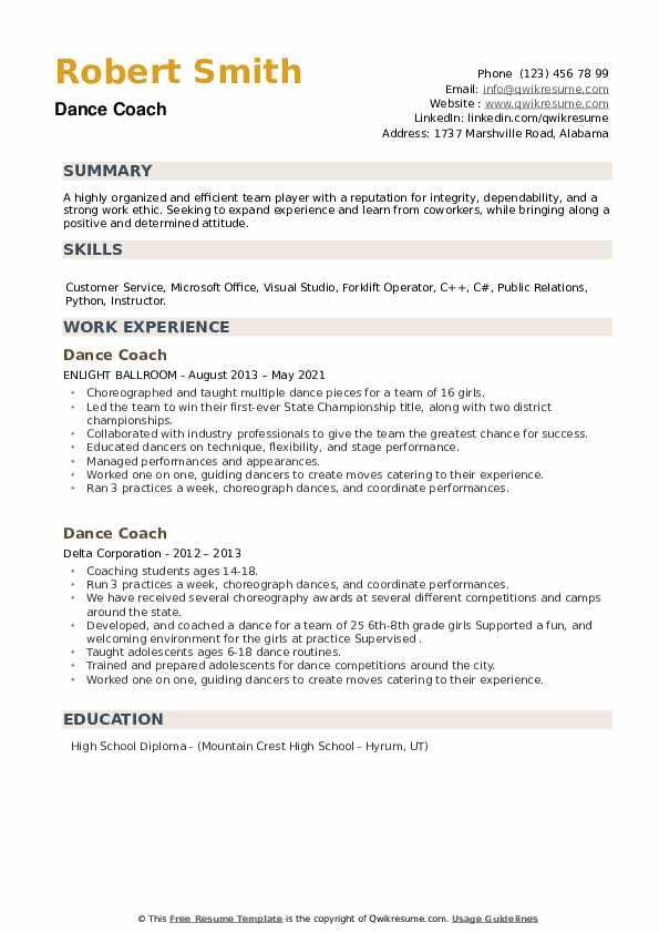 Dance Coach Resume example