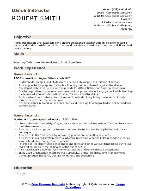 Dance Instructor Resume Model