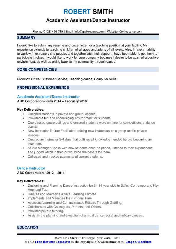 Academic Assistant/Dance Instructor Resume Model