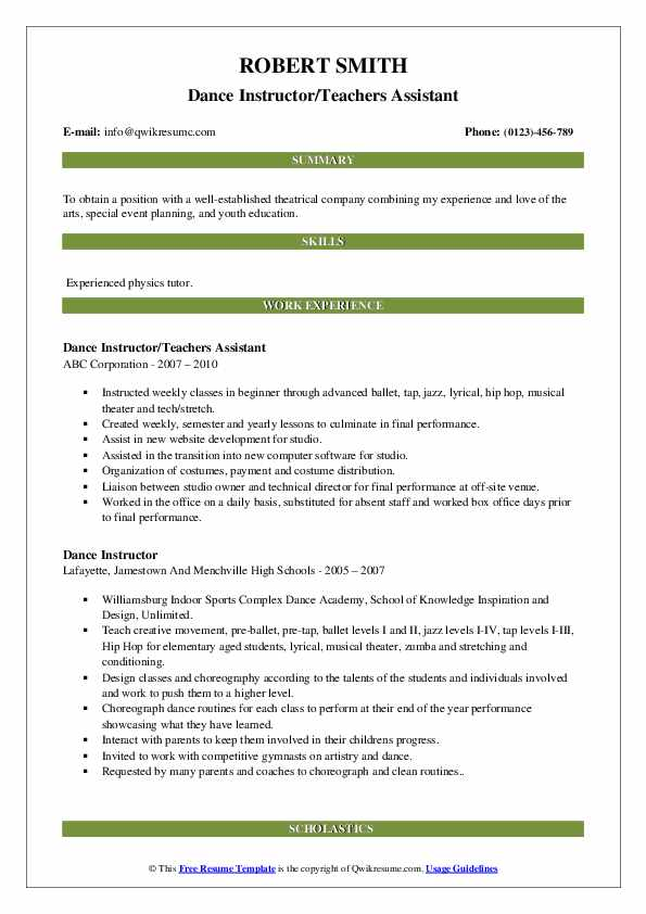 Dance Instructor/Teachers Assistant Resume Template